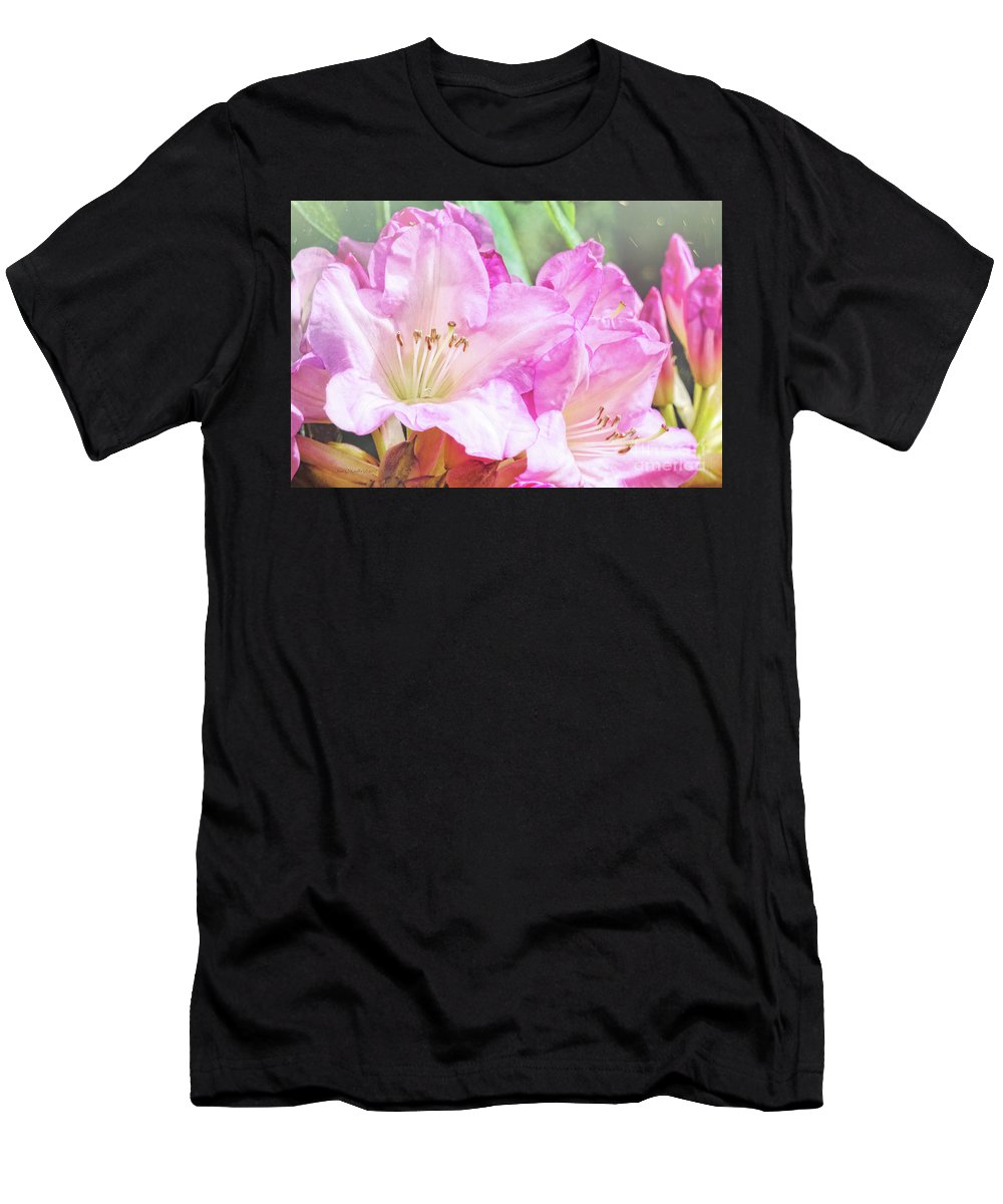 Rhododendron Men's T-Shirt (Athletic Fit) featuring the photograph Spring Bling by Jean OKeeffe Macro Abundance Art
