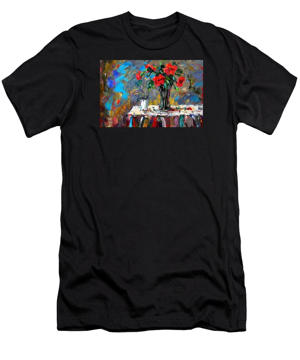 Flowers Men's T-Shirt (Athletic Fit) featuring the painting Spring Blooms by Debra Hurd