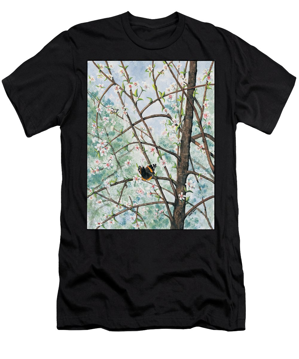 Butterfly Men's T-Shirt (Athletic Fit) featuring the painting Spring Blossom by Mary Tuomi