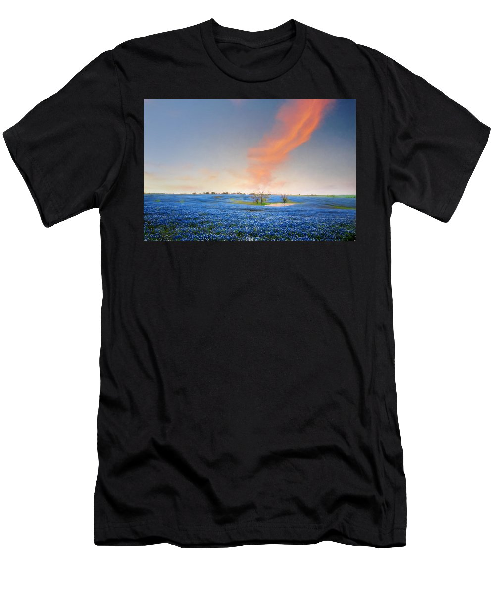 Bloom Men's T-Shirt (Athletic Fit) featuring the photograph Spring Bluebonnets In Texas by David and Carol Kelly