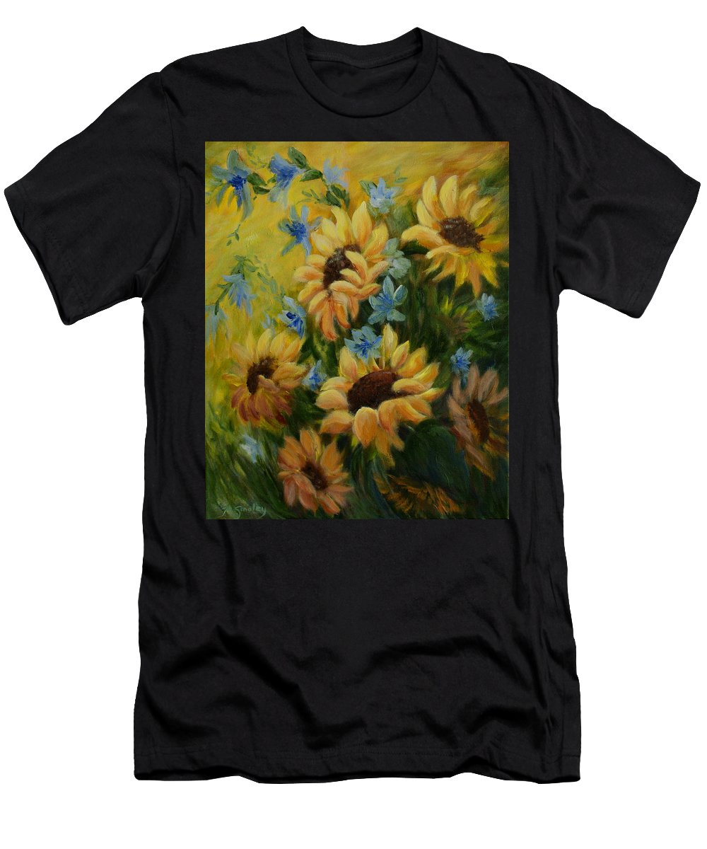 Daisies Men's T-Shirt (Athletic Fit) featuring the painting Sunflowers Galore by Joanne Smoley
