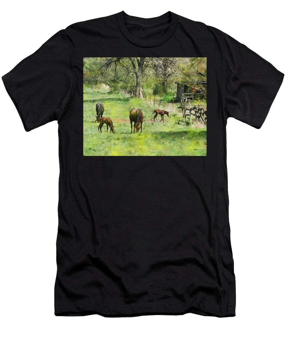 Spring Colts Men's T-Shirt (Athletic Fit) featuring the digital art Spring Colts by John Beck