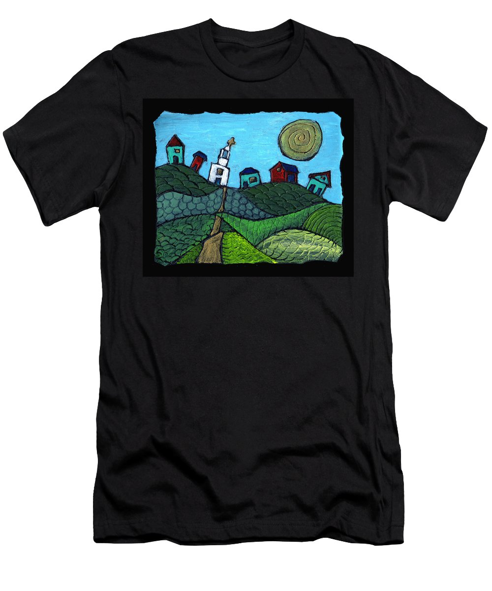 Whimsical Men's T-Shirt (Athletic Fit) featuring the painting Spring Comes To The Valley by Wayne Potrafka