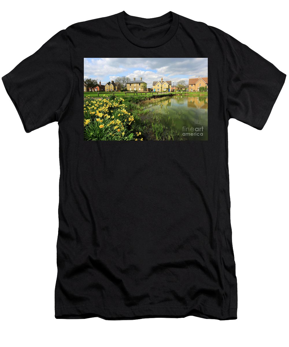 Blue Sky Men's T-Shirt (Athletic Fit) featuring the photograph Spring Daffodils, Ramsey Village Pond, Cambridgeshire, England by Dave Porter