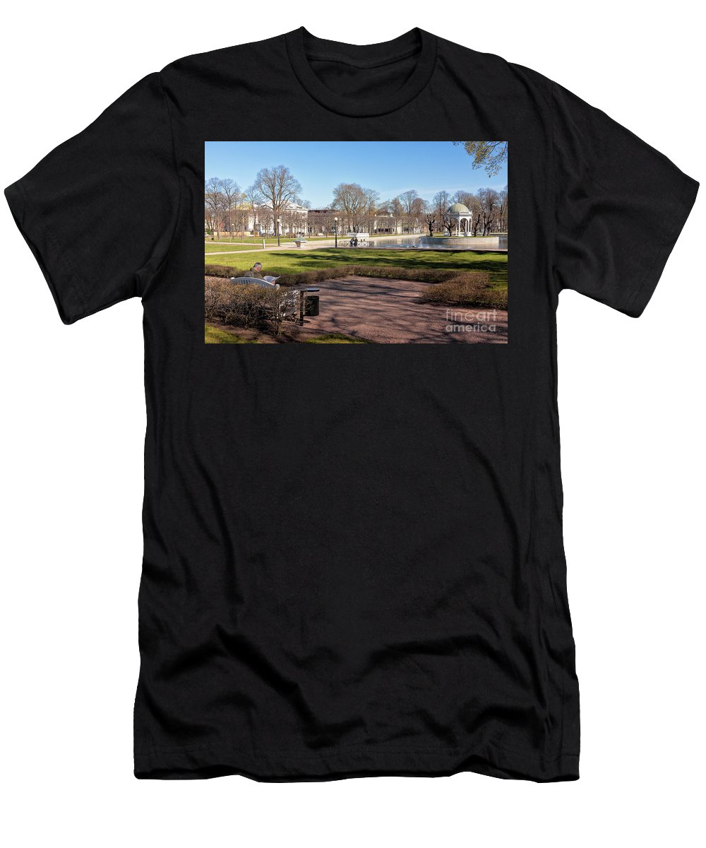 Copy Space Men's T-Shirt (Athletic Fit) featuring the photograph Spring Day At The Park by Jukka Heinovirta