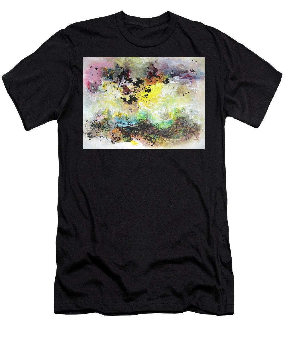 Yellow Purple Paintings Men's T-Shirt (Athletic Fit) featuring the painting Spring Fever19 by Seon-Jeong Kim