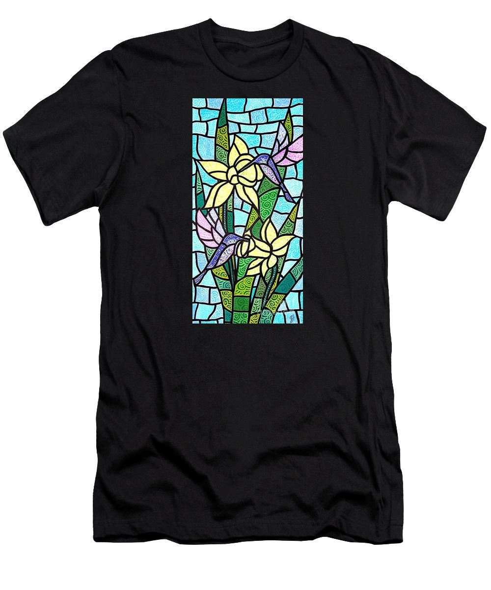 Flowers Men's T-Shirt (Athletic Fit) featuring the painting Spring Fling by Jim Harris