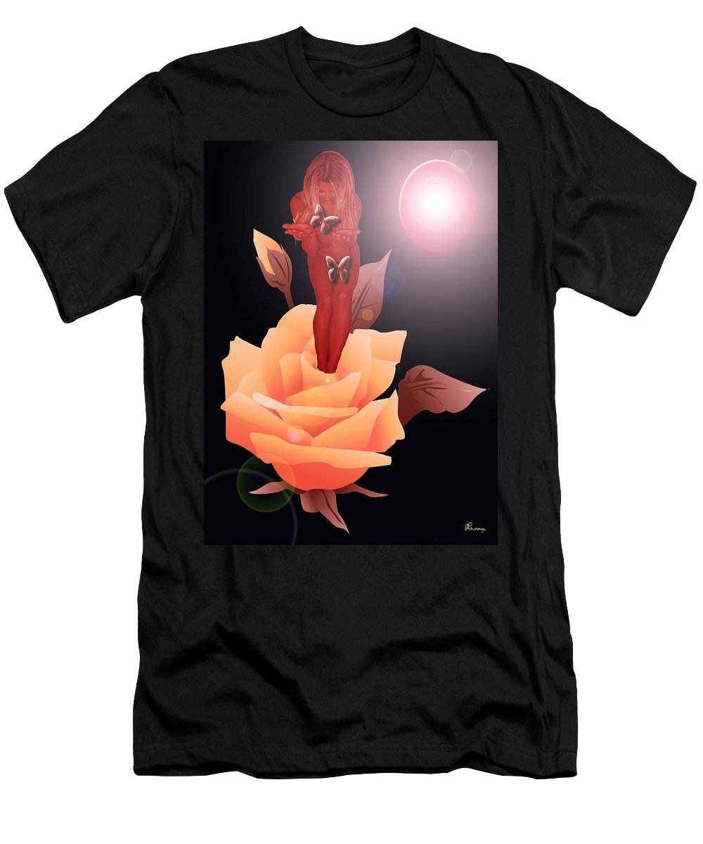 Flower Woman Butterfly Butterflies Rose Planet Leaves Leaf Men's T-Shirt (Athletic Fit) featuring the digital art Spring Flower by Andrea Lawrence