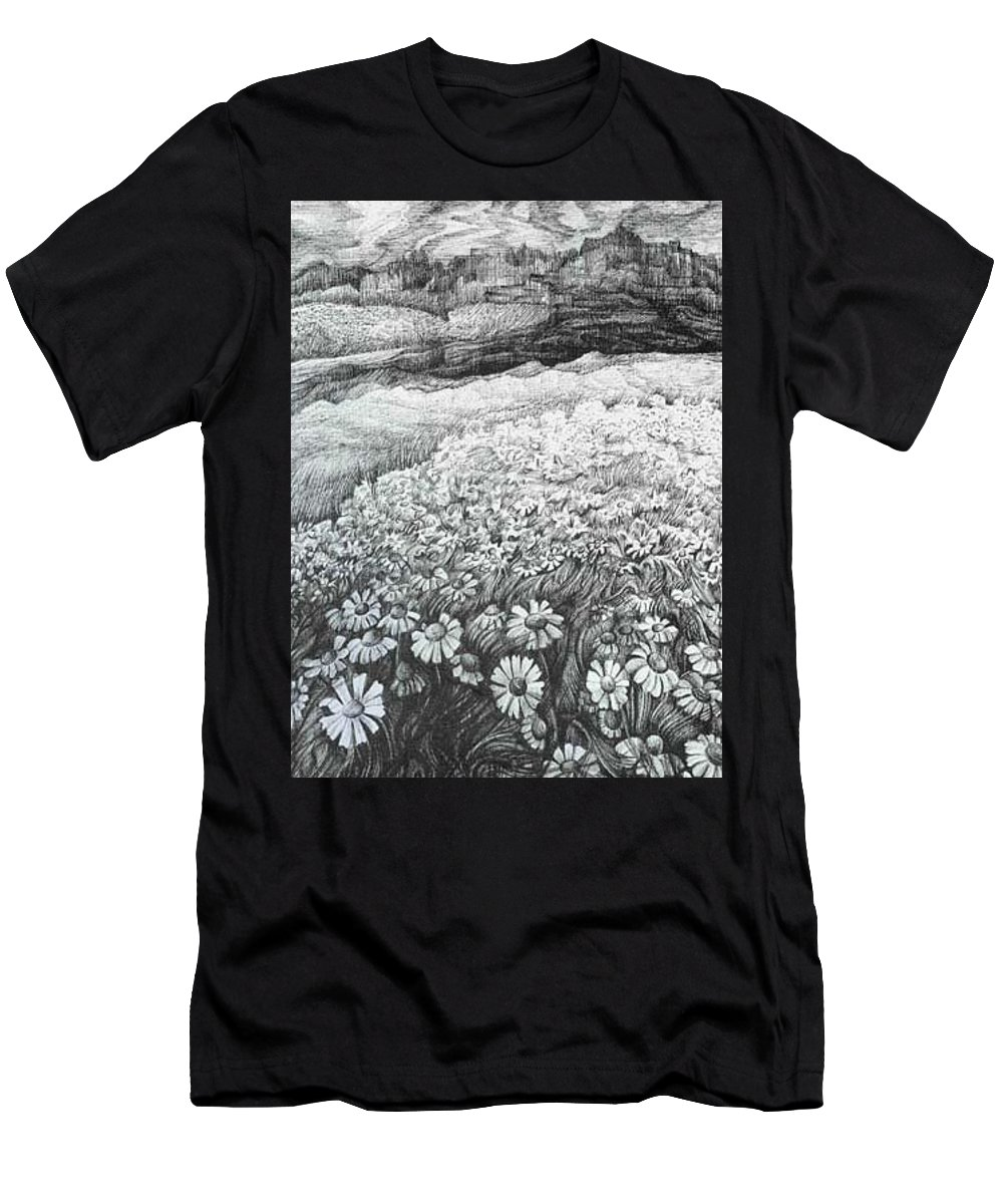 Flower Men's T-Shirt (Athletic Fit) featuring the drawing Spring Flowers by Anna Duyunova