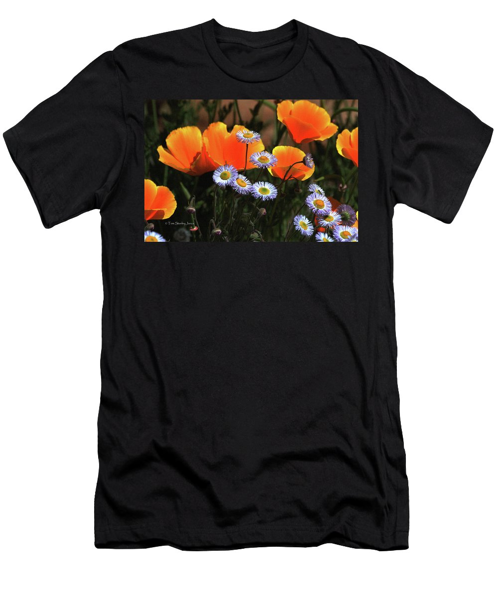 Snake On The Road Men's T-Shirt (Athletic Fit) featuring the photograph Spring Flowers In Payson Arizona by Tom Janca