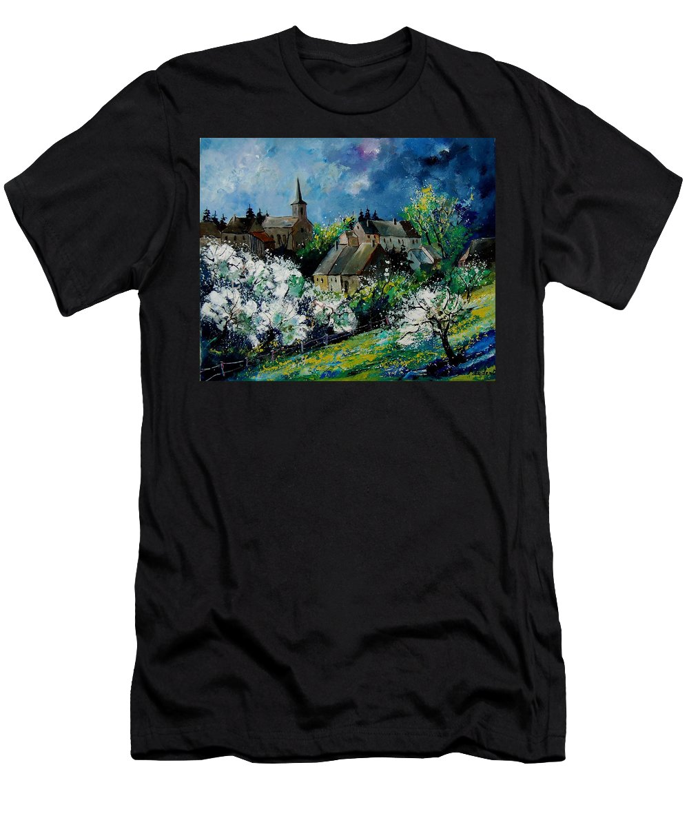 Spring Men's T-Shirt (Athletic Fit) featuring the painting Spring In Fays Famenne by Pol Ledent