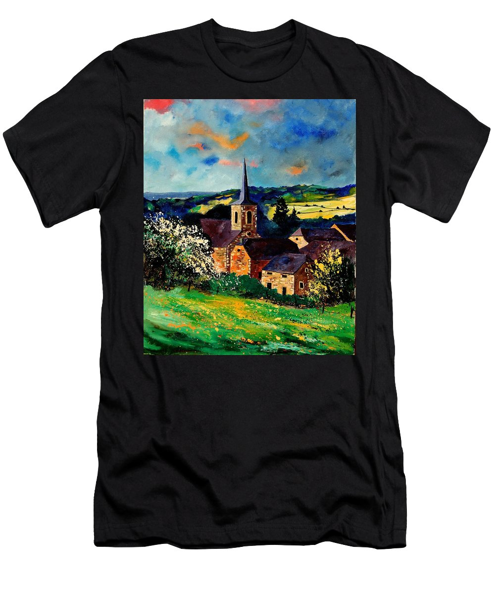 Spring Men's T-Shirt (Athletic Fit) featuring the painting Spring In Gendron by Pol Ledent