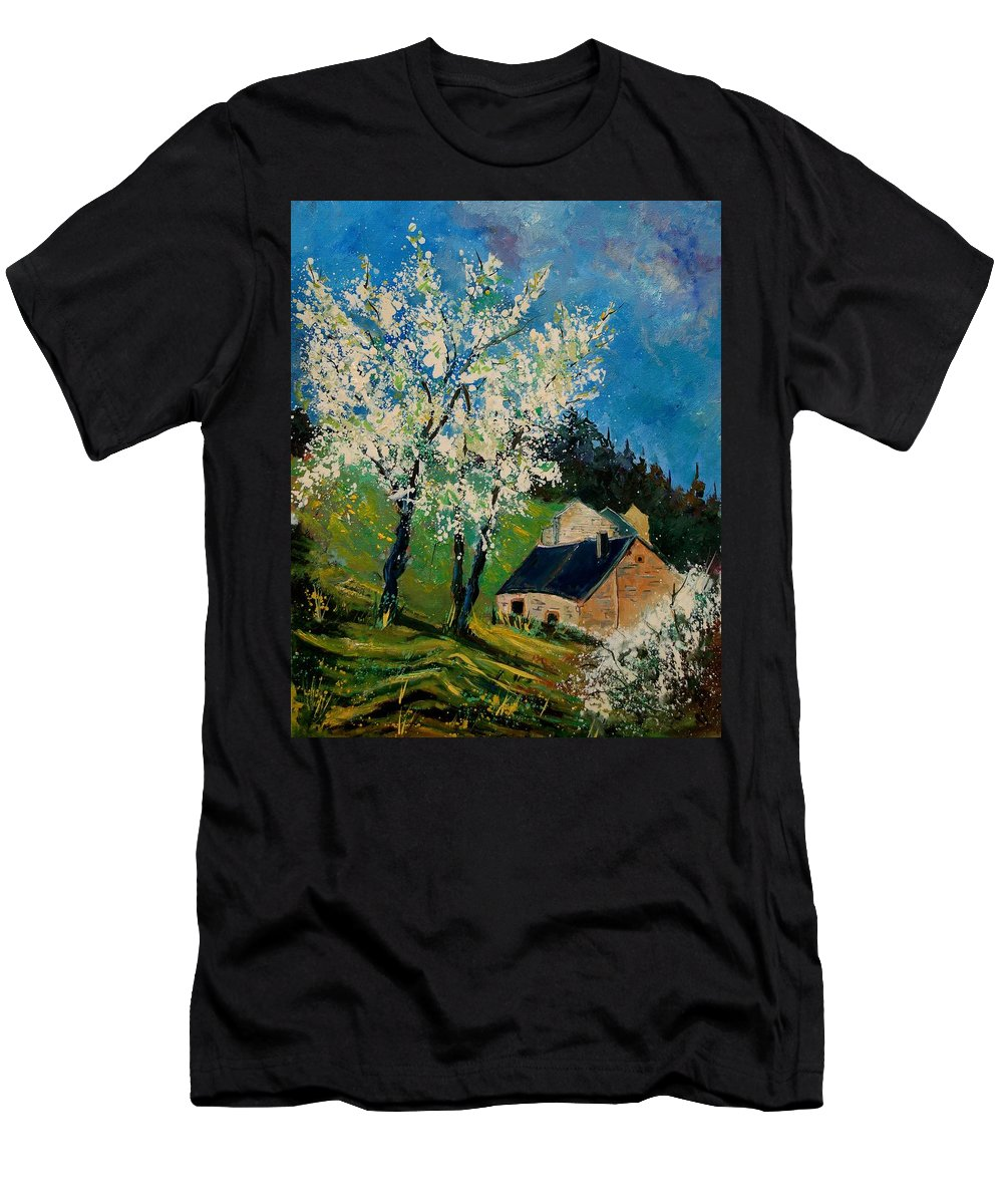 Spring Men's T-Shirt (Athletic Fit) featuring the painting Spring In Hierges by Pol Ledent