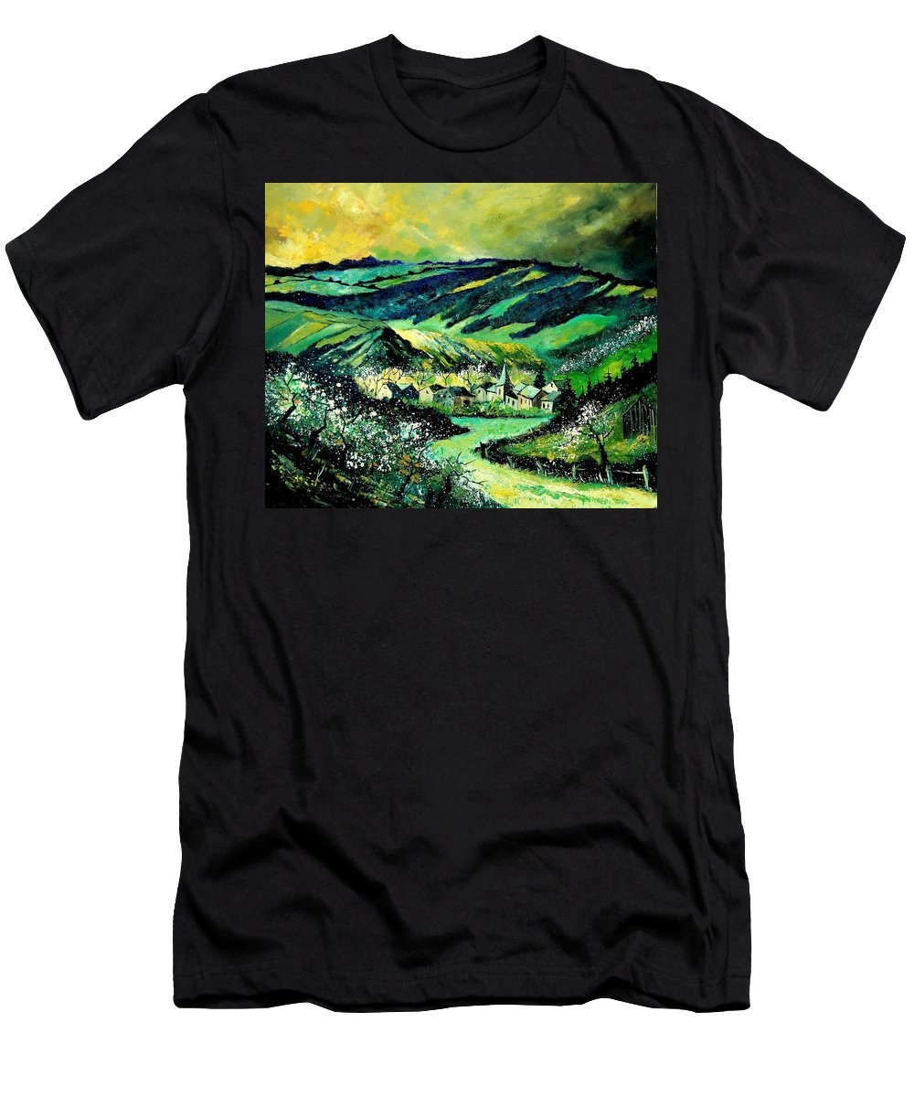 Landscape Men's T-Shirt (Athletic Fit) featuring the painting Spring In Tha Ardennes by Pol Ledent