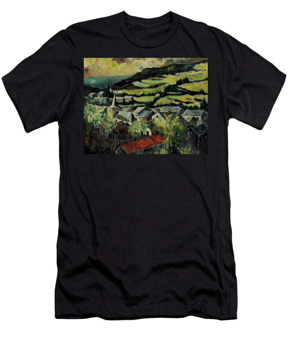 Spring Men's T-Shirt (Athletic Fit) featuring the painting Spring In Vresse Ardennes Belgium by Pol Ledent