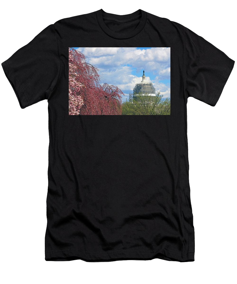 United Men's T-Shirt (Athletic Fit) featuring the photograph Spring In Washington And Dressed In Scaffolding by Cora Wandel