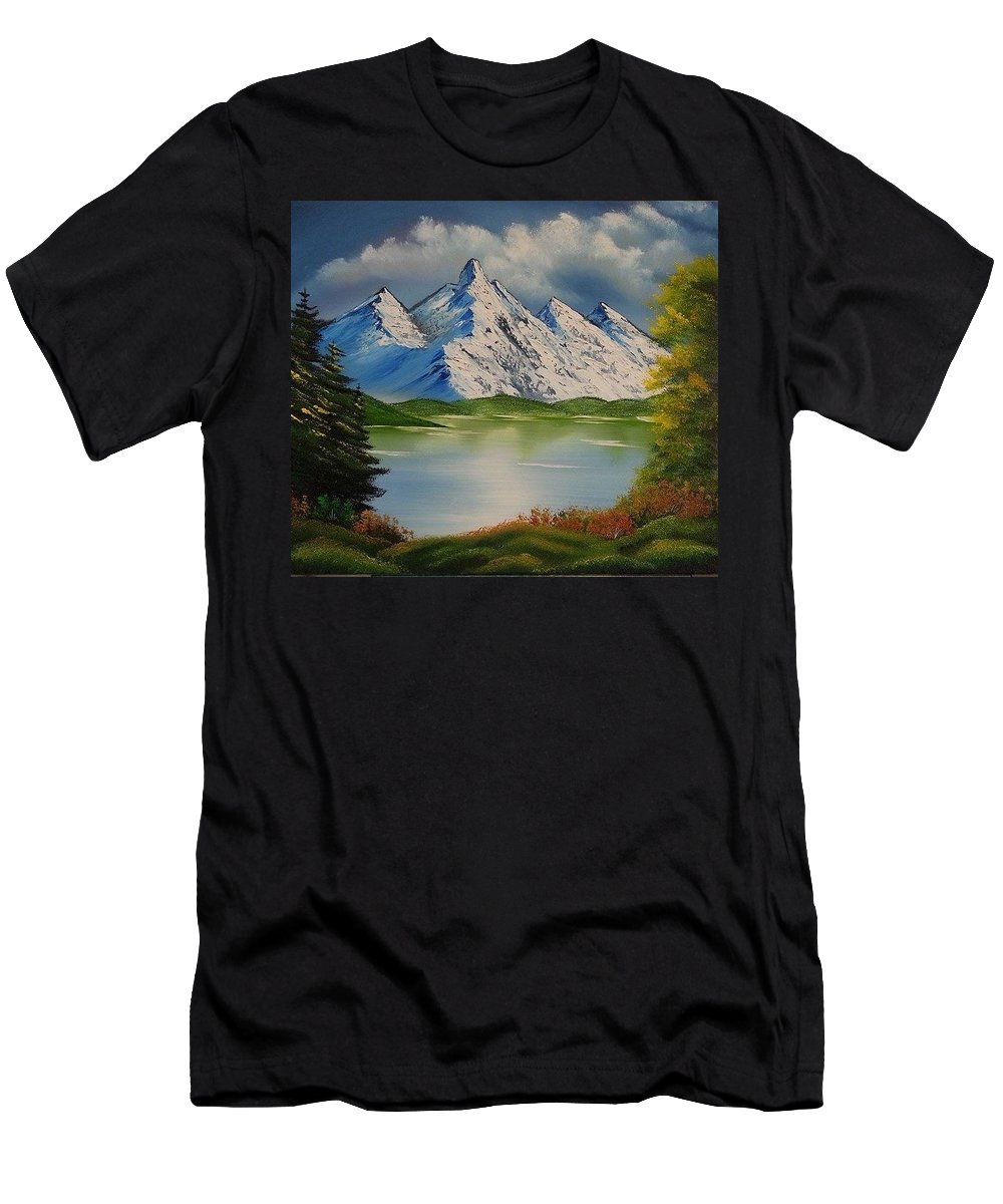 Spring Lake Men's T-Shirt (Athletic Fit) featuring the painting Spring Lake by Nadine Westerveld