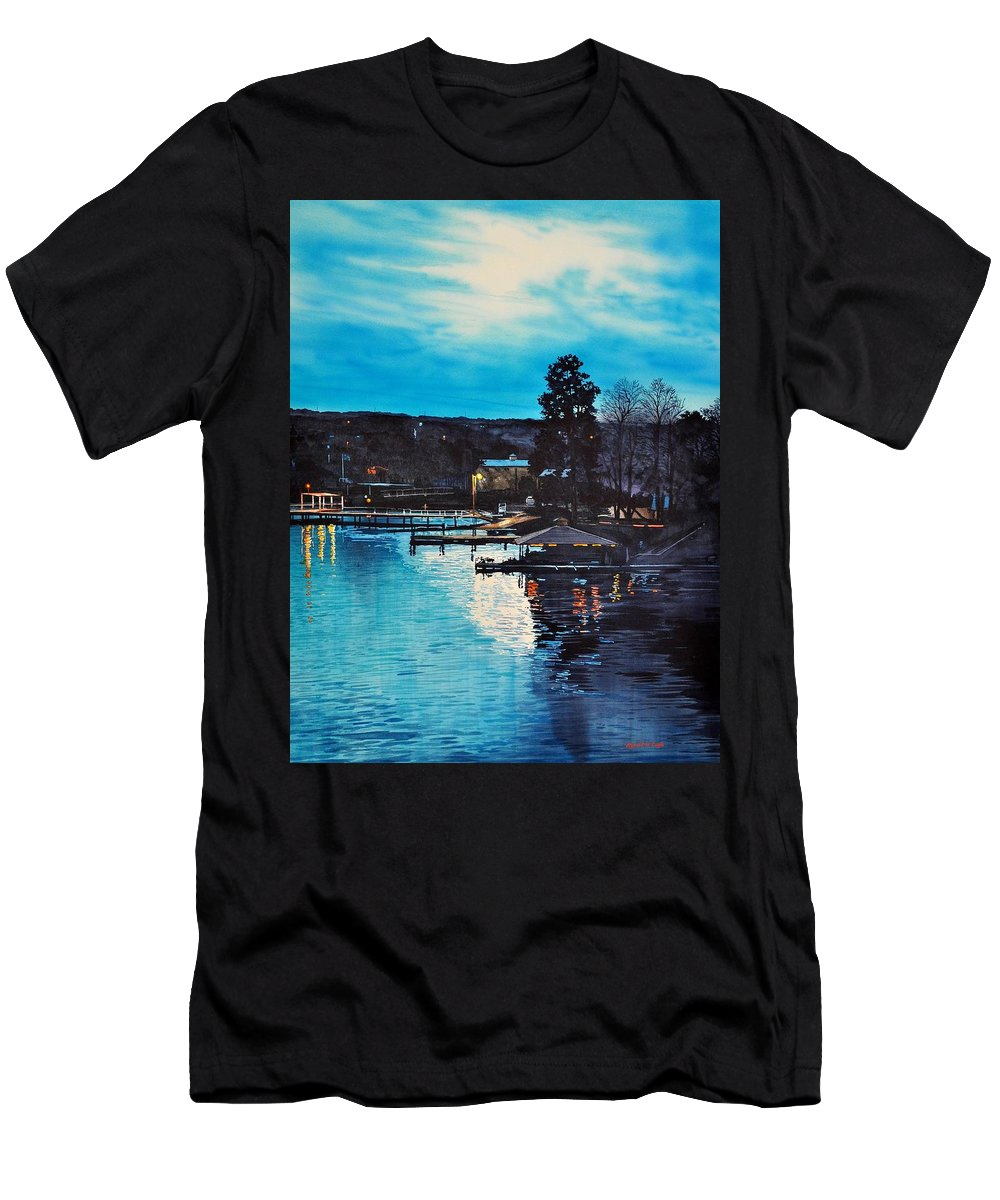Landscape. Water Men's T-Shirt (Athletic Fit) featuring the painting Spring Lake Nocturn by Robert W Cook