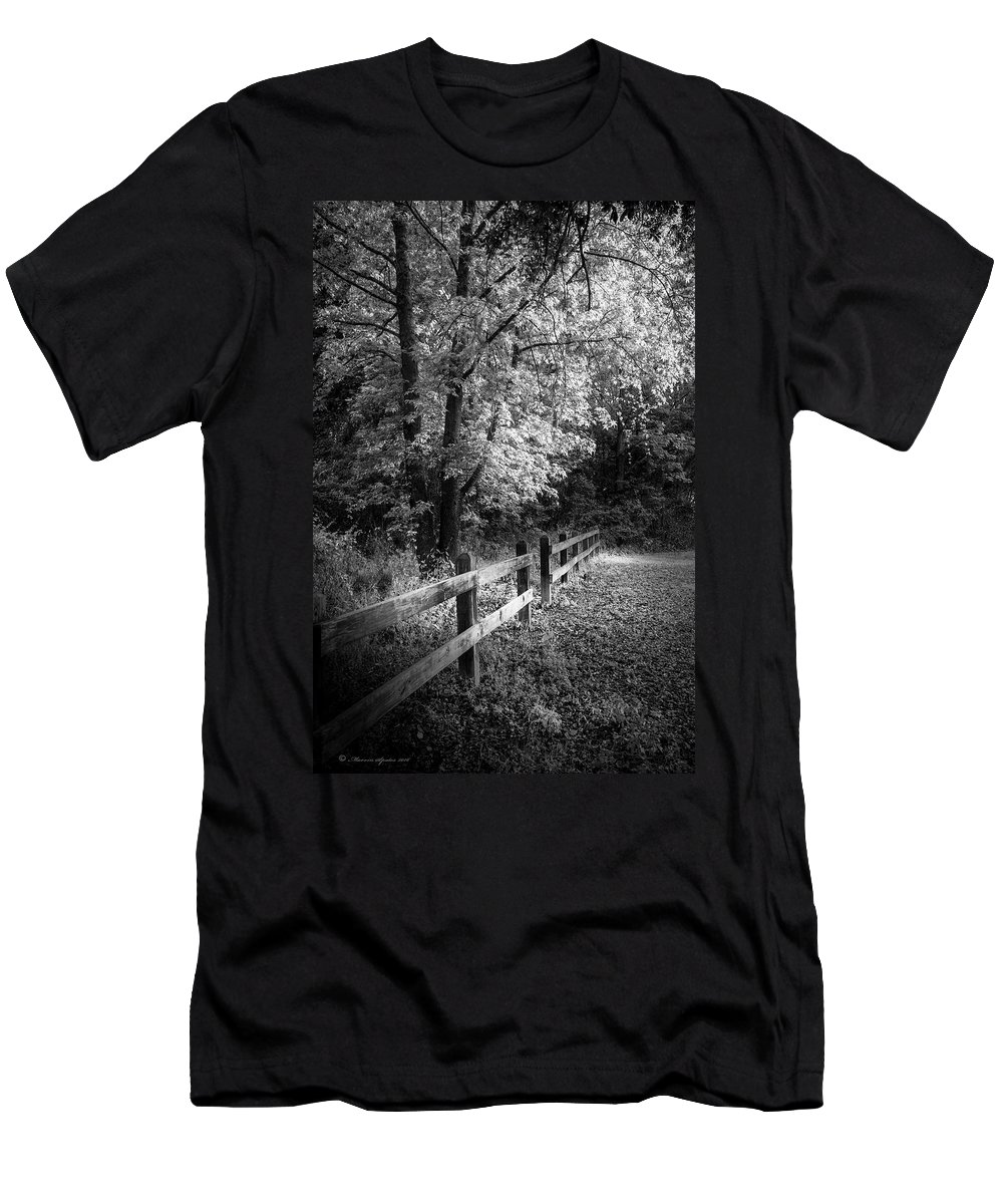 Edward Medard Park Men's T-Shirt (Athletic Fit) featuring the photograph Spring Leaves B/w by Marvin Spates