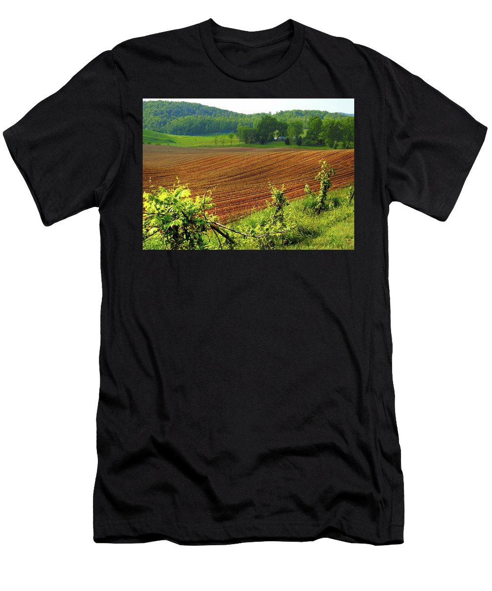 Rural Men's T-Shirt (Athletic Fit) featuring the photograph Spring Planting by Laura Ragland