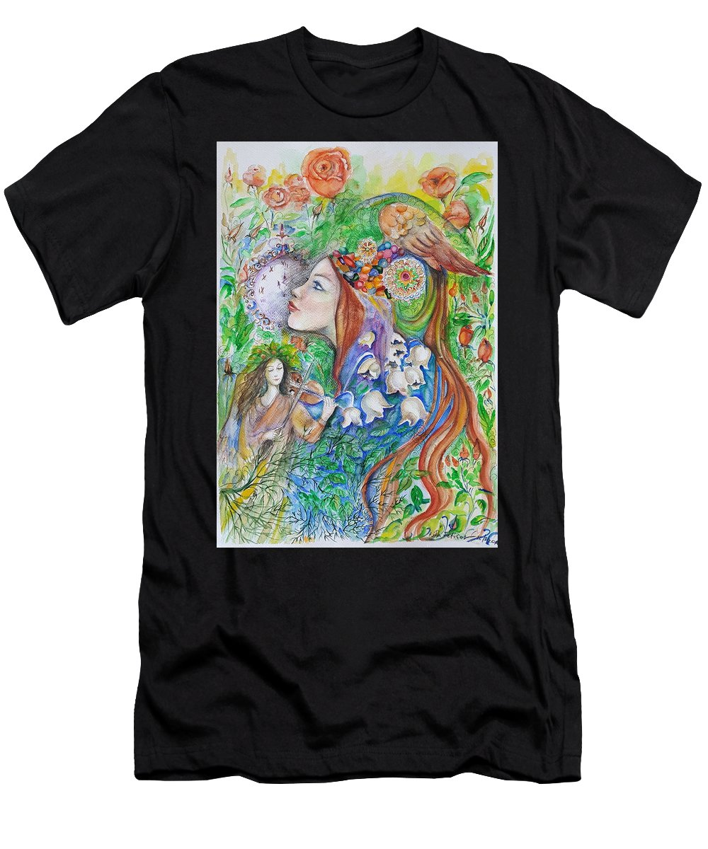 Lilies Of The Valley Men's T-Shirt (Athletic Fit) featuring the mixed media Spring Song by Rita Fetisov