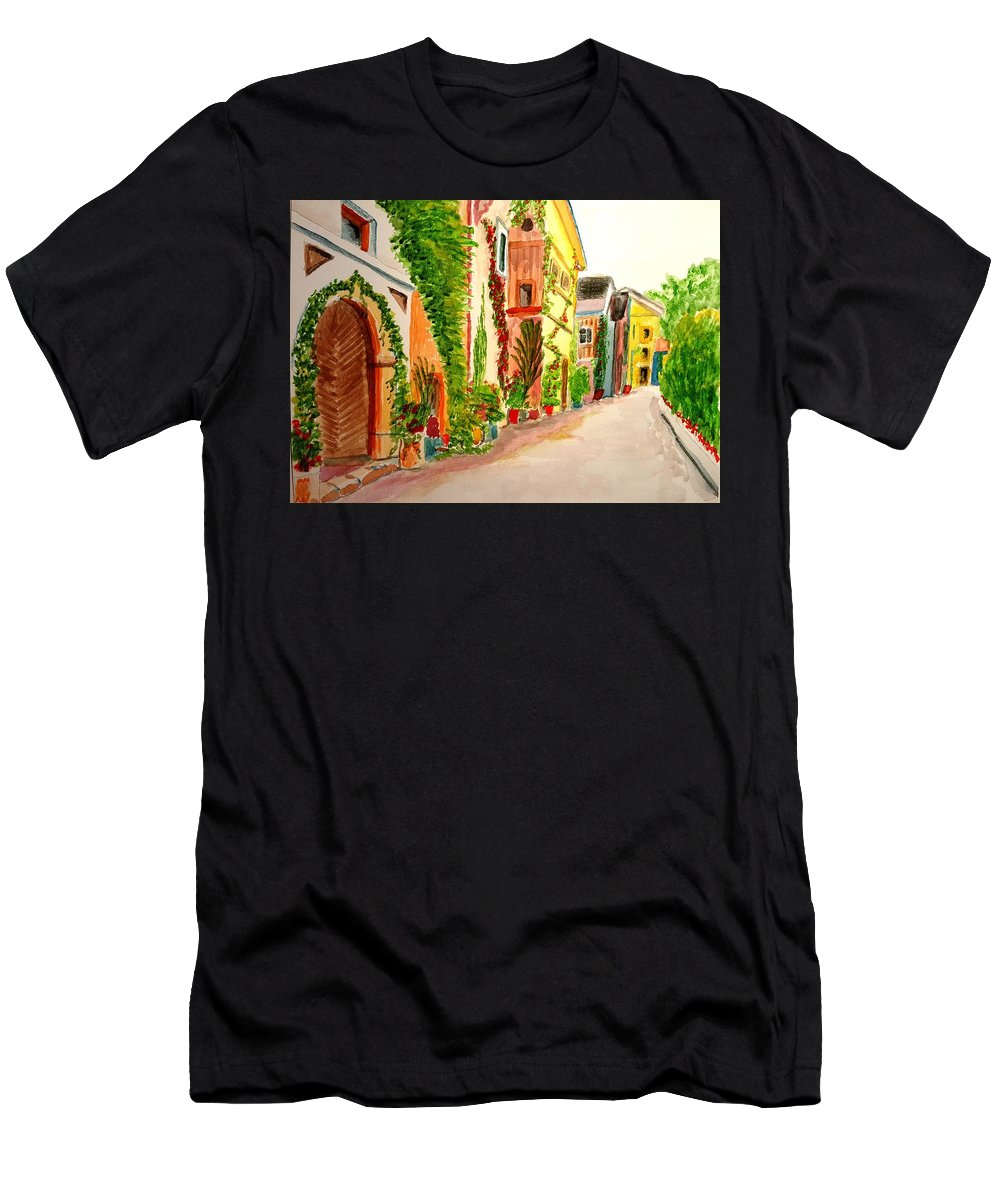 Flowers Men's T-Shirt (Athletic Fit) featuring the painting Spring Stroll by Steve Duke - Artist