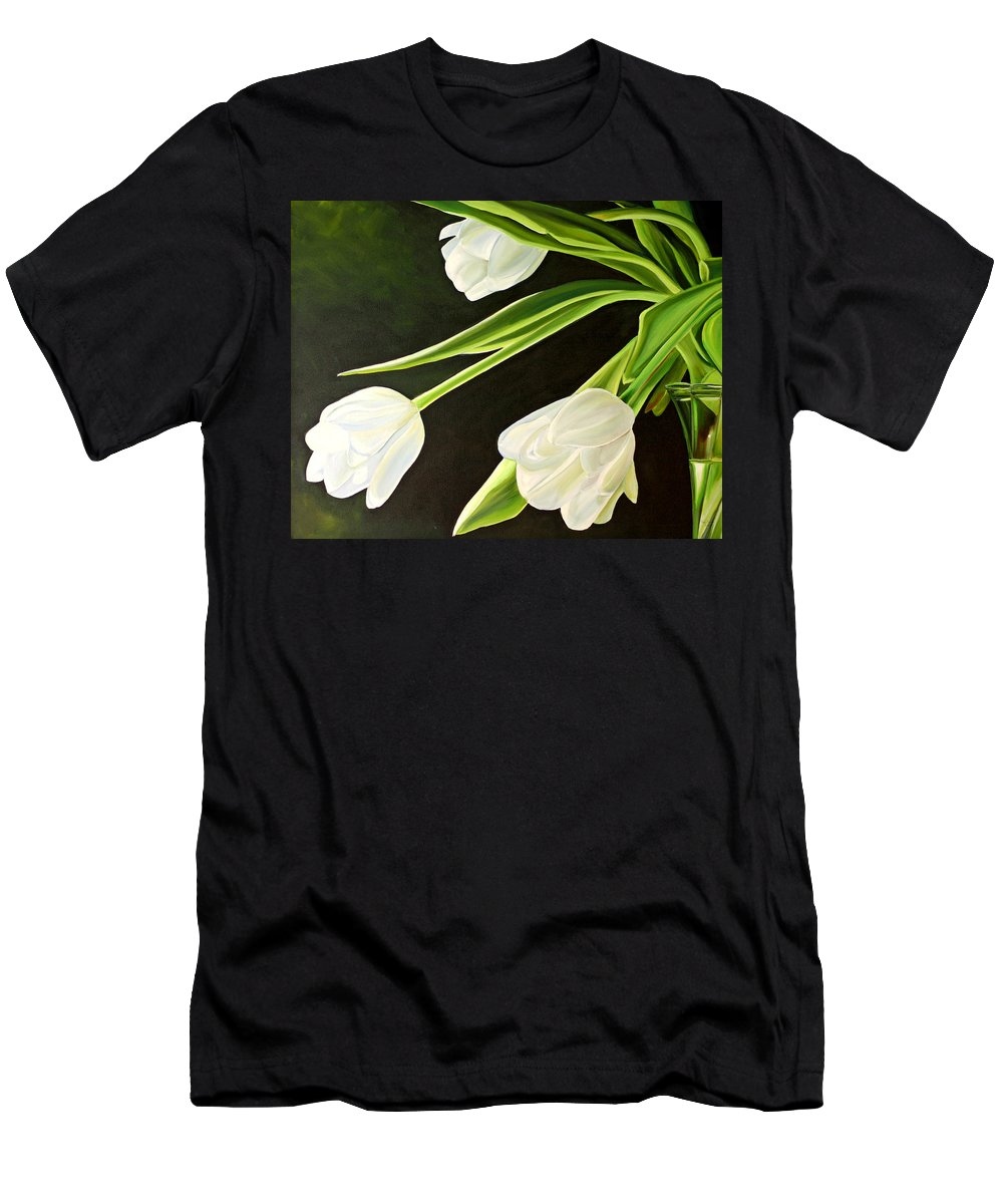 Tulips Men's T-Shirt (Athletic Fit) featuring the painting Spring Tulips by Toni Grote