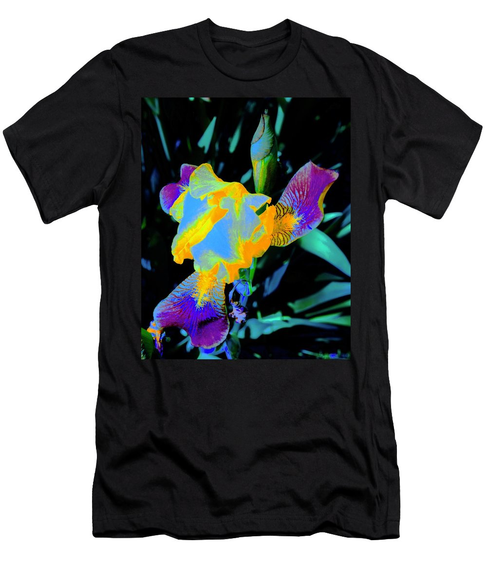 Iris Men's T-Shirt (Athletic Fit) featuring the photograph Springtime Abstract Iris by Tim G Ross