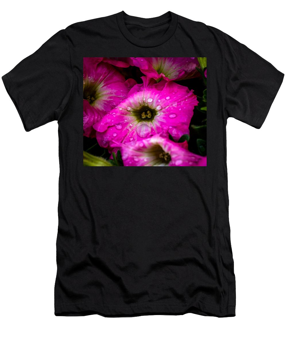 Petunias Men's T-Shirt (Athletic Fit) featuring the photograph Pink Petunias by Howard Roberts