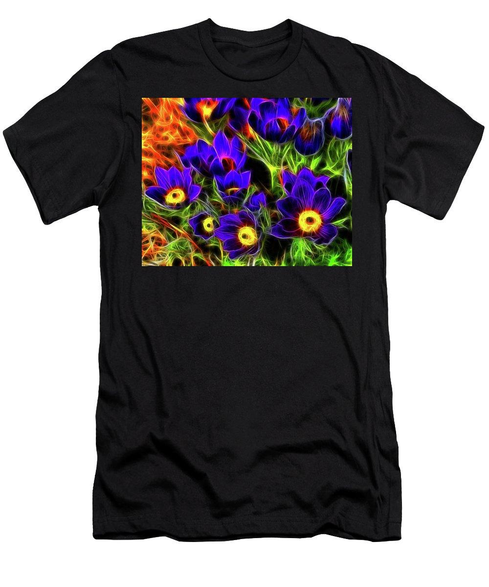 Flowers Men's T-Shirt (Athletic Fit) featuring the photograph Springtime Fire by Steve Sullivan