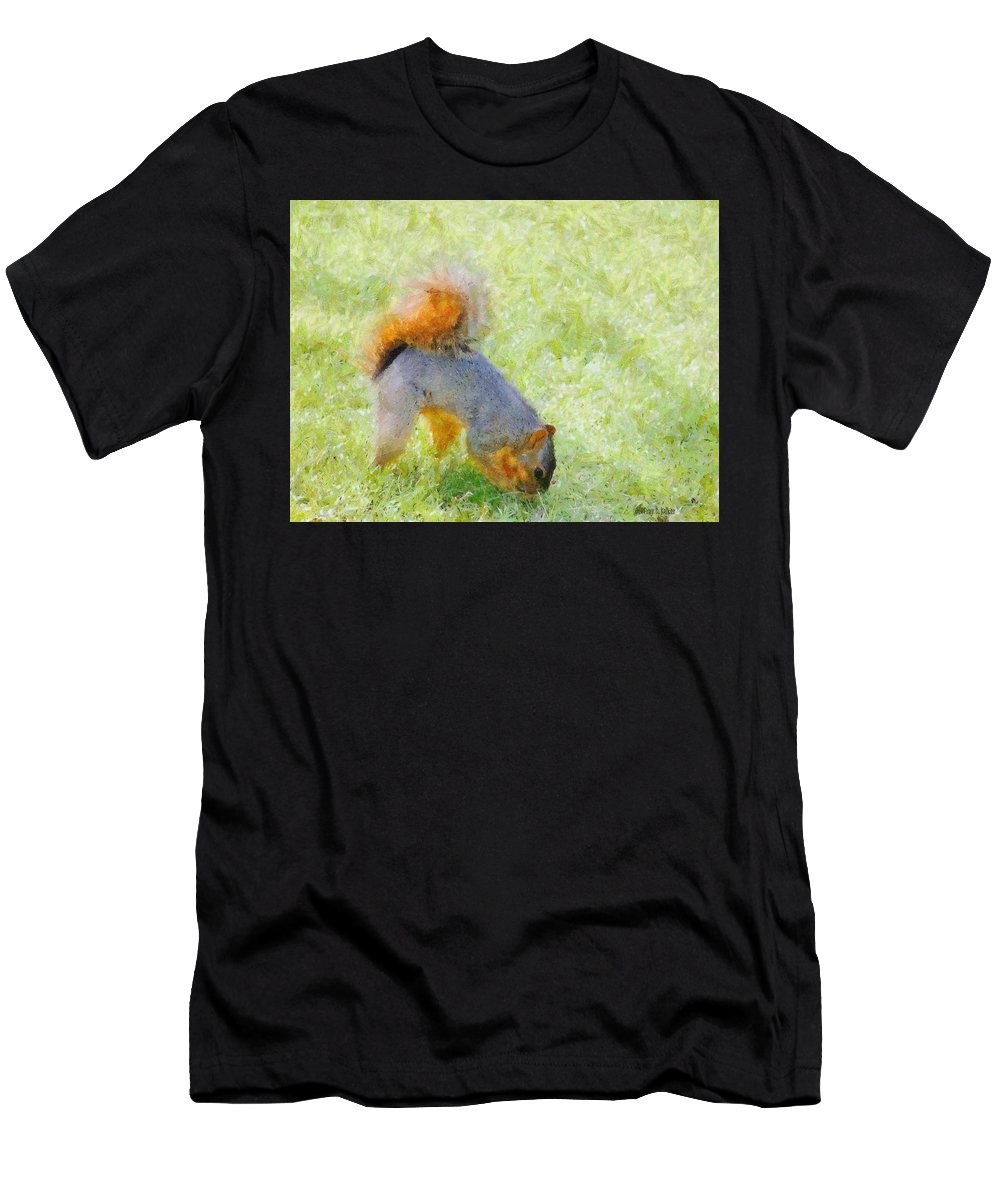 Squirrel Men's T-Shirt (Athletic Fit) featuring the painting Squirrelly by Jeffrey Kolker