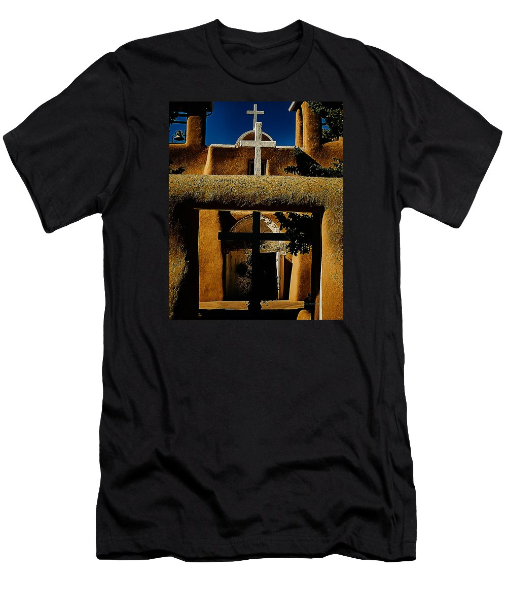Ranchos Men's T-Shirt (Athletic Fit) featuring the photograph St. Francis Gate by Charles Muhle