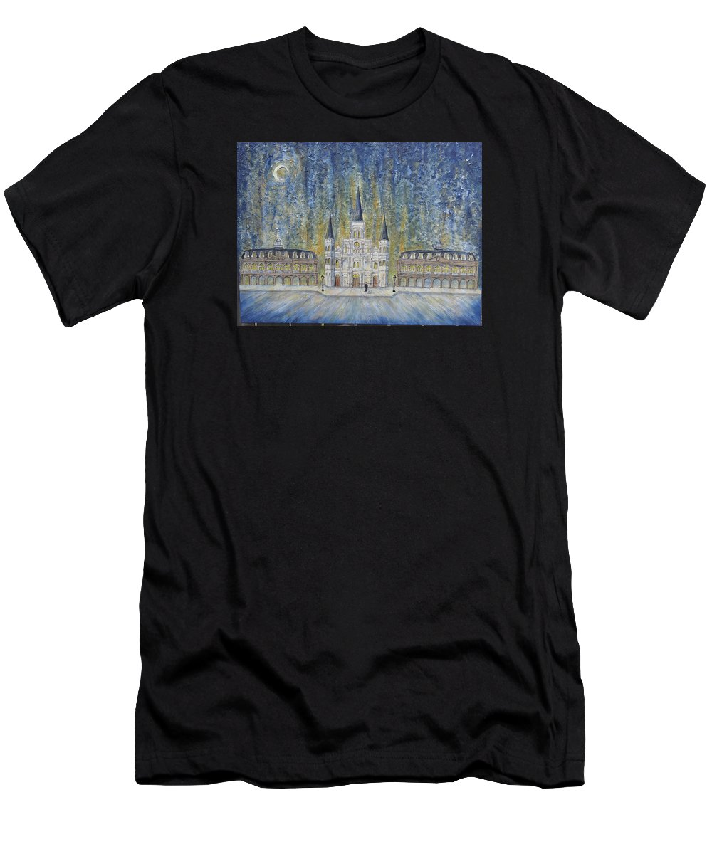 Structure Men's T-Shirt (Athletic Fit) featuring the painting St. Louis Cathedral And Old Government Buildings by Catherine Wilson