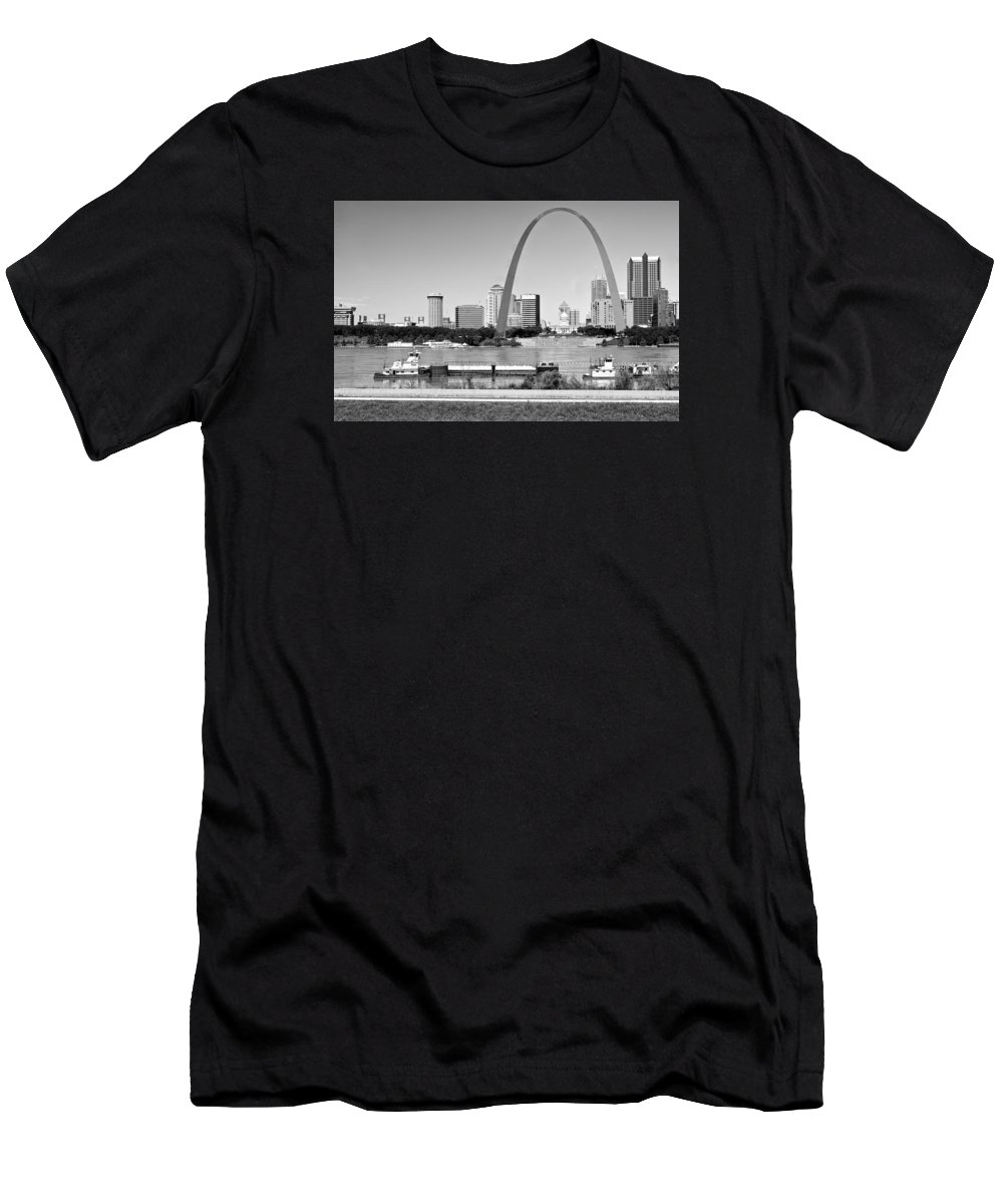 St Louis Men's T-Shirt (Athletic Fit) featuring the photograph St Louis City Scape In Black And White by Ginger Wakem
