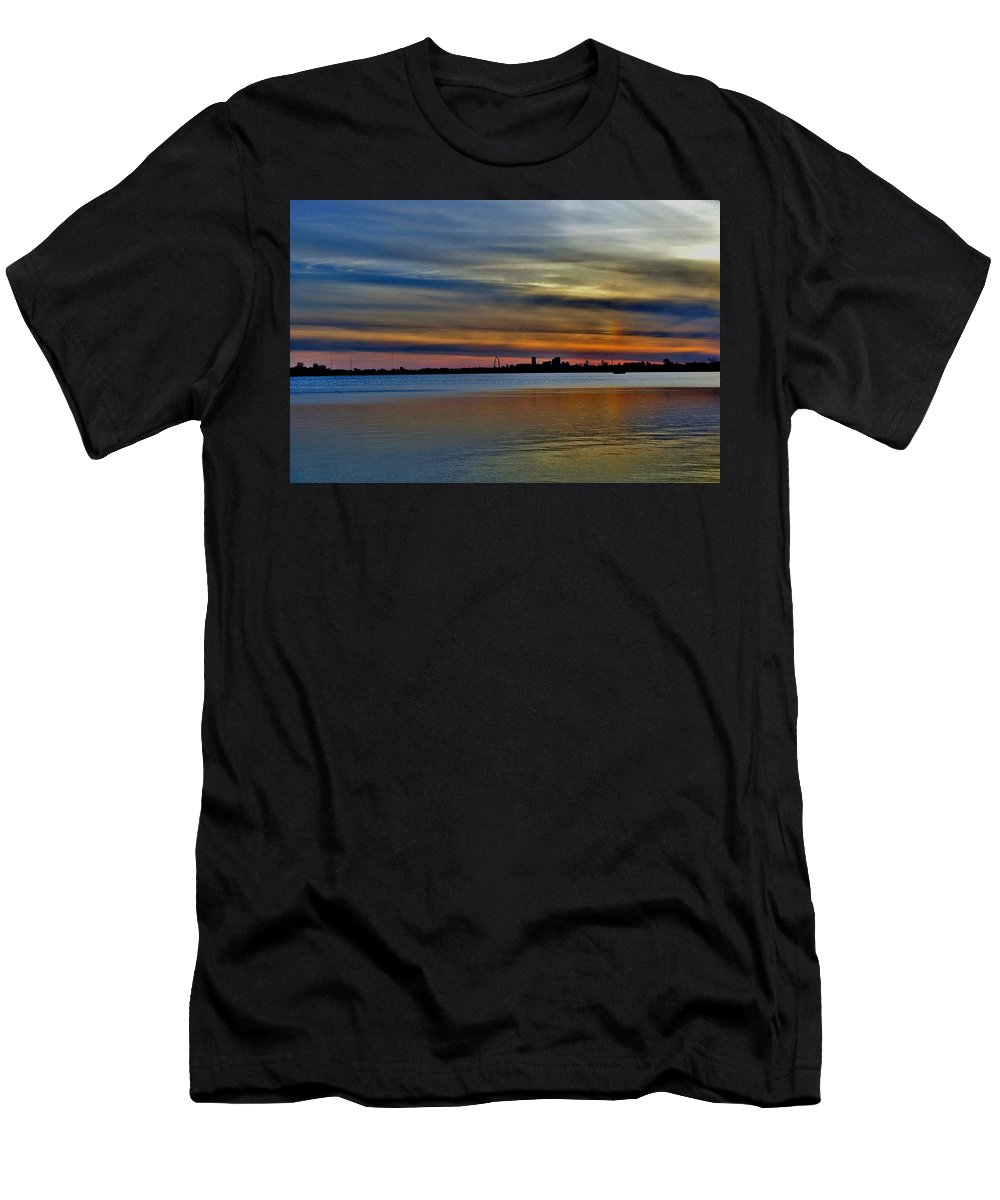St Louis Sunset Men's T-Shirt (Athletic Fit) featuring the photograph St Louis Sunset by Debby Lesko