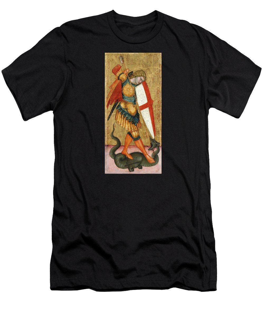 Painting Men's T-Shirt (Athletic Fit) featuring the painting St Michael And The Dragon by Mountain Dreams