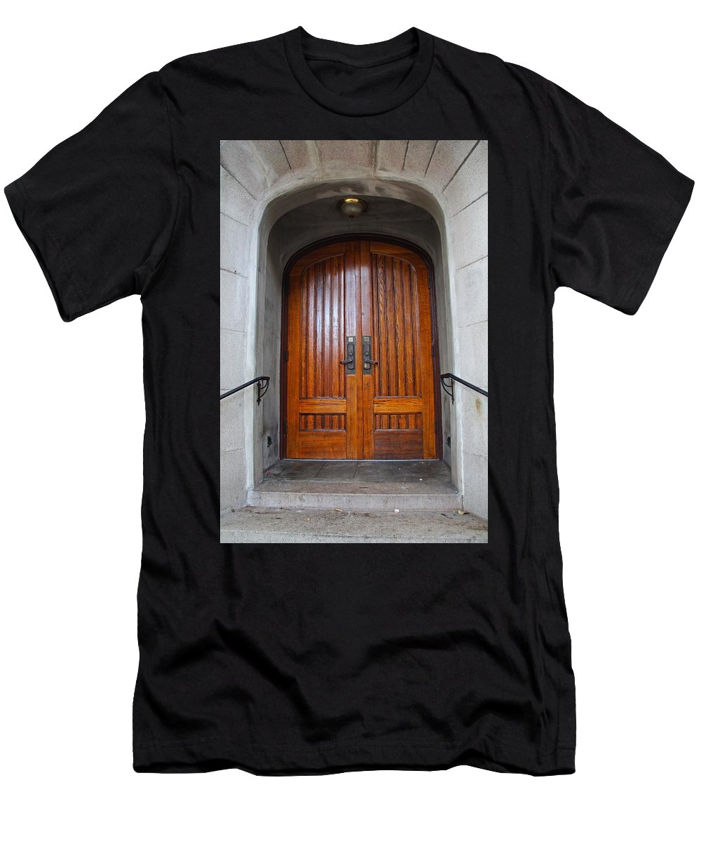 St Pauls Men's T-Shirt (Athletic Fit) featuring the photograph St Paul's Episcopal Church In San Francisco II by Michiale Schneider