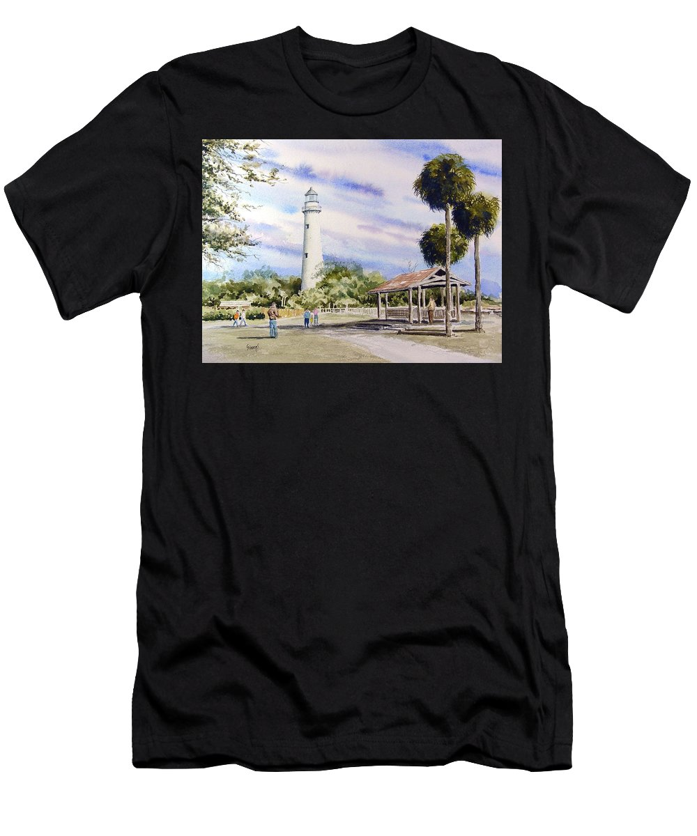 Lighthouse Men's T-Shirt (Athletic Fit) featuring the painting St. Simons Island Lighthouse by Sam Sidders