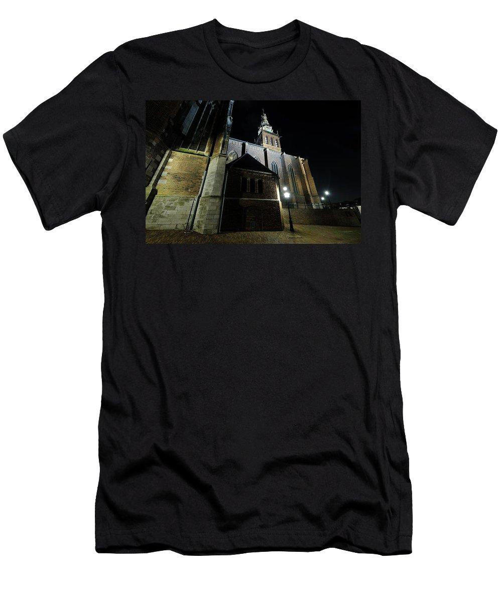 Nijmegen Men's T-Shirt (Athletic Fit) featuring the photograph St. Steven's Church In Nijmegen At Night by Merijn Van der Vliet