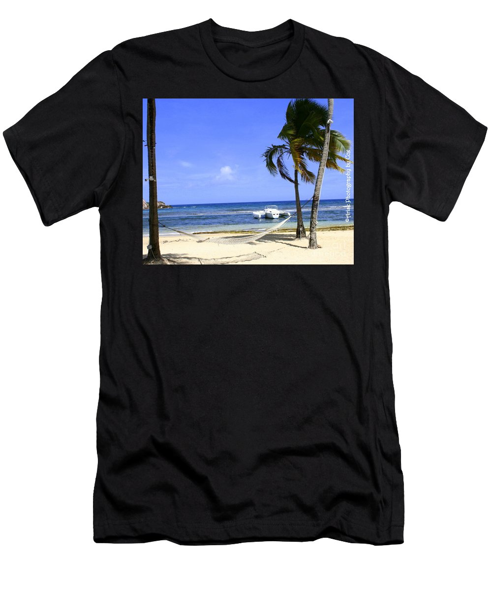 St Thomas Men's T-Shirt (Athletic Fit) featuring the photograph St Thomas Beach Hamocks And Boats Iggys by Charlene Cox