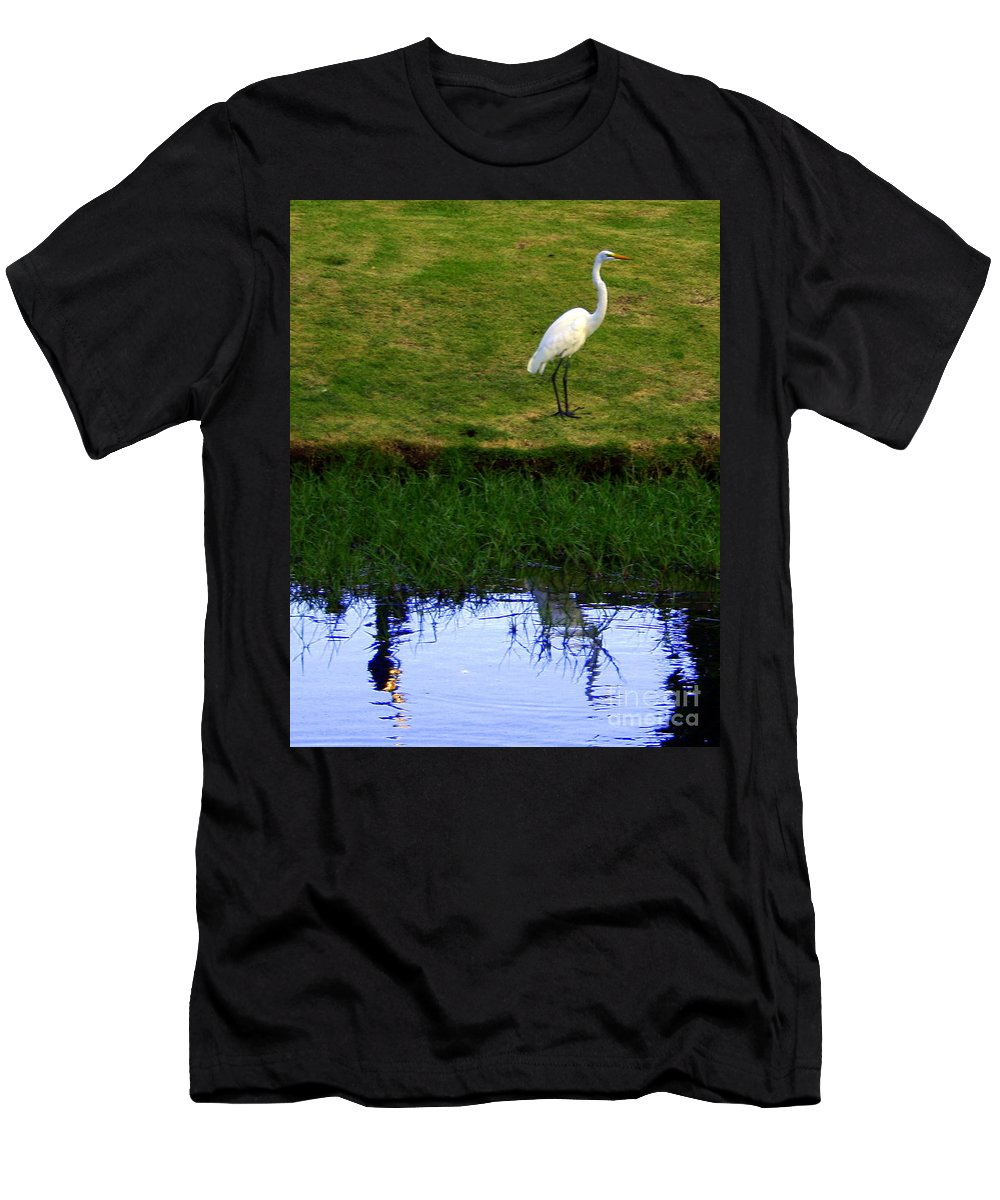 St Thomas Men's T-Shirt (Athletic Fit) featuring the photograph St Thomas Great Egret At The Lake by Charlene Cox