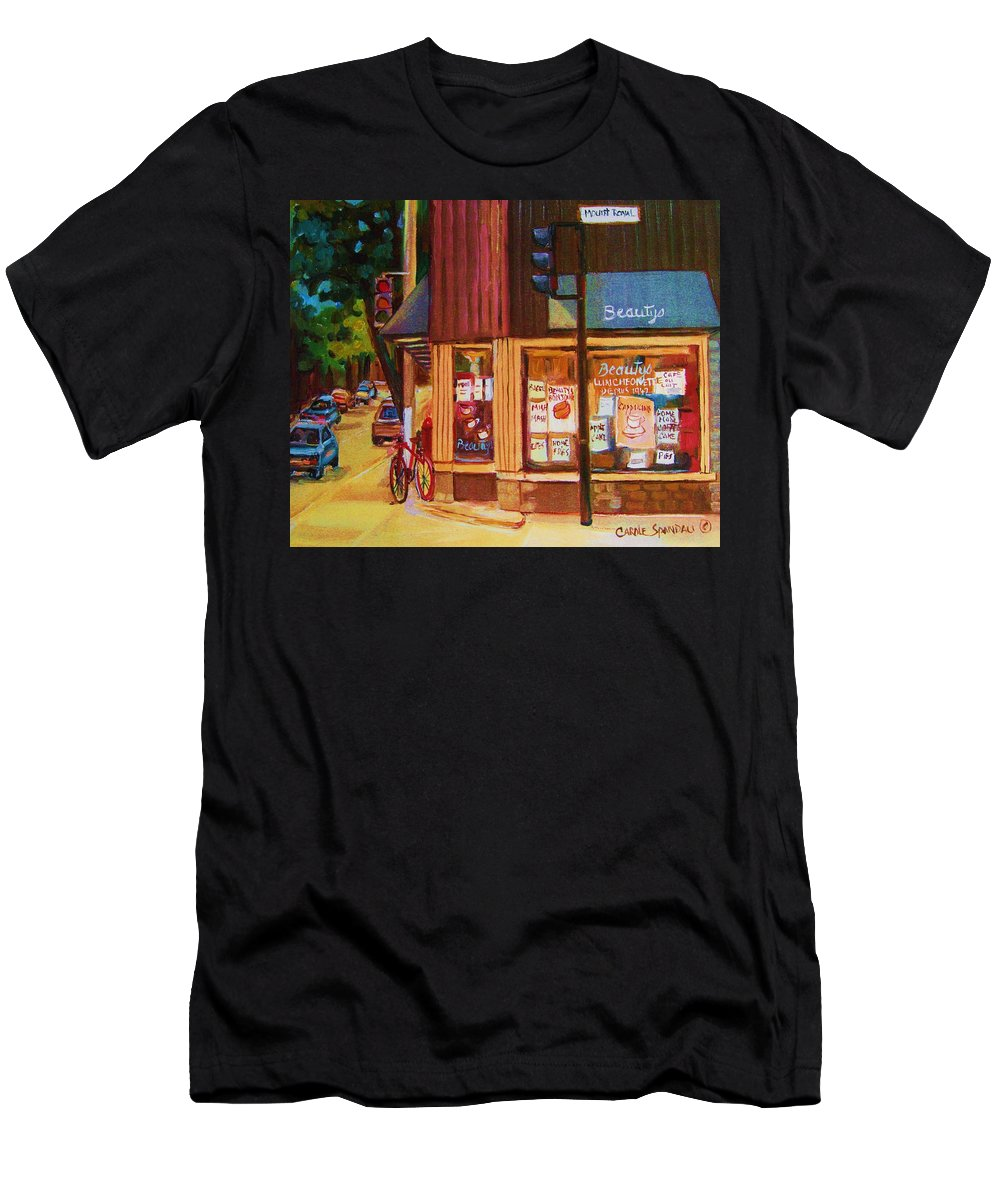 Beautys Men's T-Shirt (Athletic Fit) featuring the painting St Urbain And Mount Royal by Carole Spandau