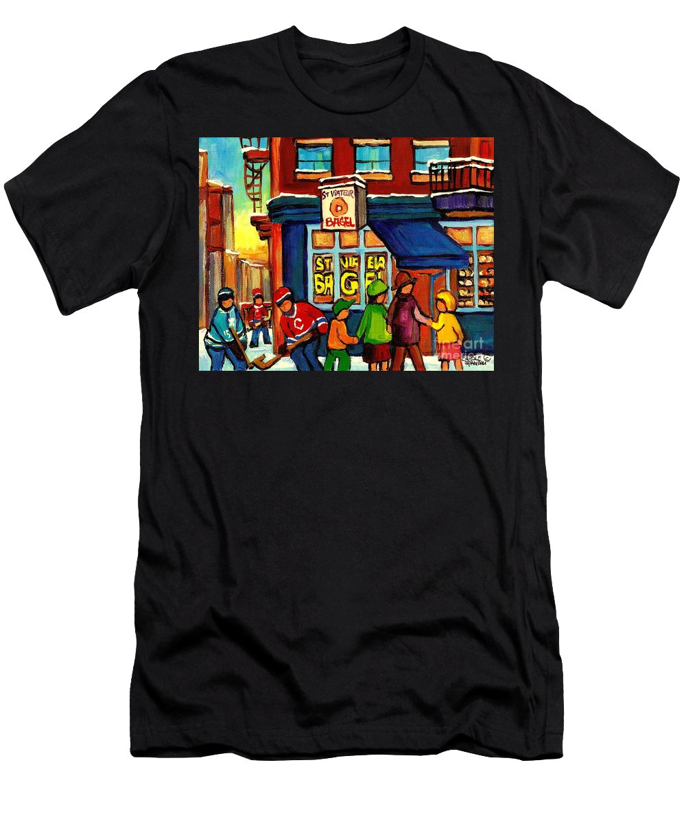 Monteeal Men's T-Shirt (Athletic Fit) featuring the painting St. Viateur Bagel With Hockey by Carole Spandau