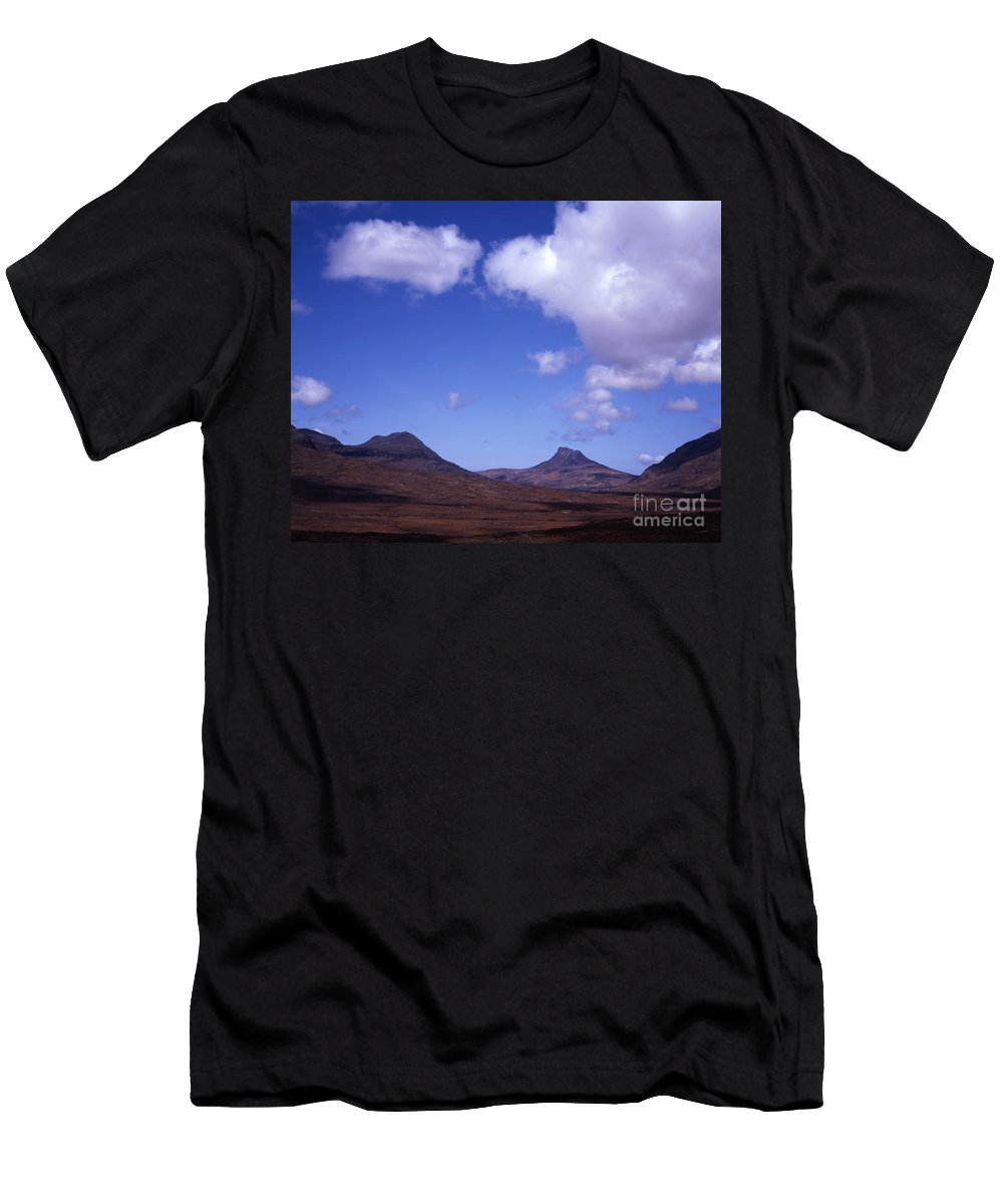 [stac Pollaidh] [inver Pollaidh] Scotland [cumulus Cloud] Corbett Clouds Corbetts Inverpolly Assynt Coigach [drumrunie Forest] Scotland [scottish Highlands] Sutherland Dramatic Geological Geology [national Nature Reserve] Scenery Scenic Stunning Summer View Wild Wilderness Footpath Hiking  Moorland Mountain Rambling Scottish British Mountain Mountains Men's T-Shirt (Athletic Fit) featuring the photograph Stac Pollaidh Inverpolly National Nature Reserve Wester Ross Scotland by Michael Walters