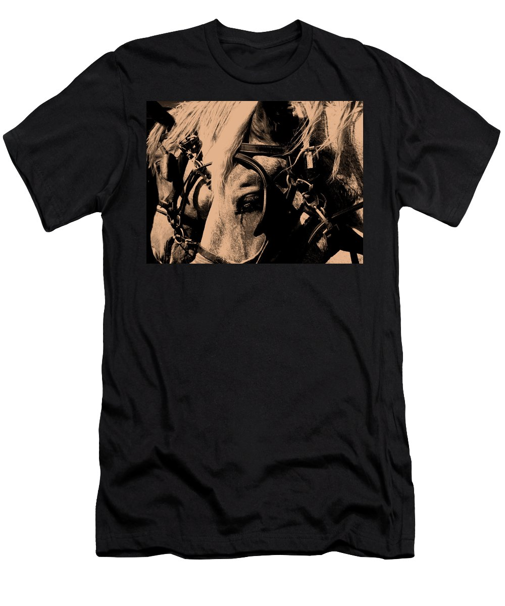 Horse Men's T-Shirt (Athletic Fit) featuring the photograph Stage Coach Horses by Wayne Potrafka