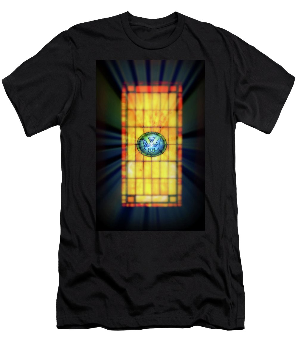 Stain Glass Men's T-Shirt (Athletic Fit) featuring the photograph Stain Glass by Perry Webster