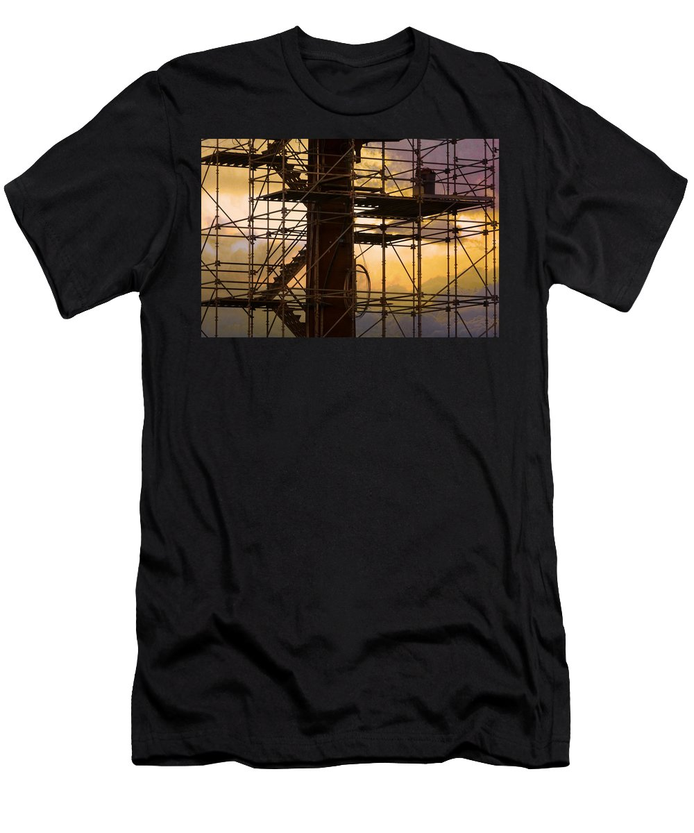 Abstract Men's T-Shirt (Athletic Fit) featuring the photograph Stairs Lines And Color Abstract Photography by James BO Insogna
