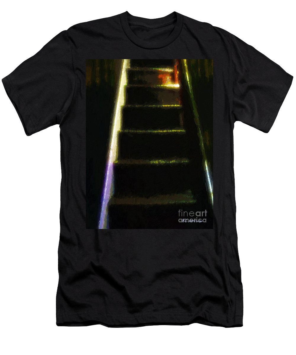 Stairs Men's T-Shirt (Athletic Fit) featuring the painting Stairs To The Madwoman's Attic by RC DeWinter