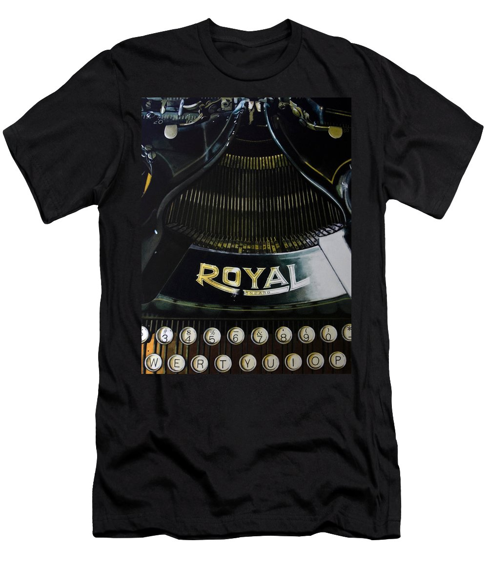 Typewriter Men's T-Shirt (Athletic Fit) featuring the painting Standard by Denny Bond