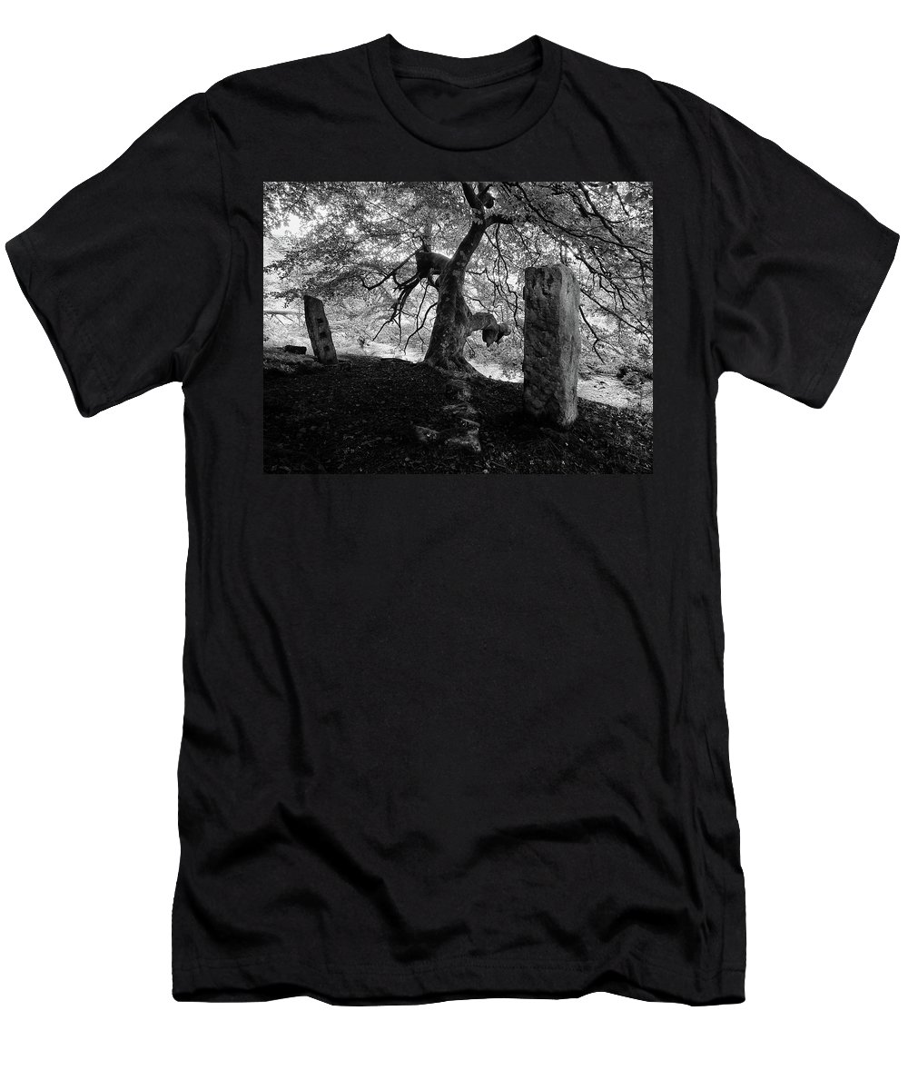 Standing Stones Men's T-Shirt (Athletic Fit) featuring the photograph Standing Stones Near The Tree by Philip Openshaw
